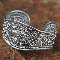 Sterling silver cuff bracelet, 'Precious She-Elephant' (Thailand)