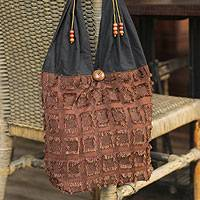Cotton blend shoulder bag, 'Sublime Brown' - Cotton Shoulder Bag Handmade in Thailand