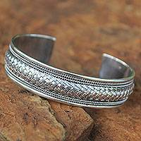 Sterling silver cuff bracelet, 'Chiang Mai Glamour'