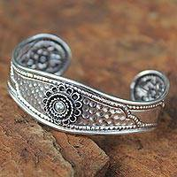 Sterling silver cuff bracelet, 'Floral Trio'