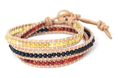 Onyx and Carnelian Wrap Bracelet