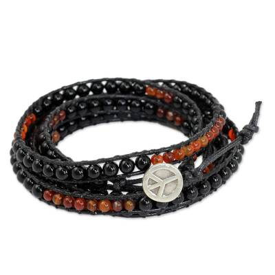 Fair Trade Onyx and Carnelian Wrap Bracelet