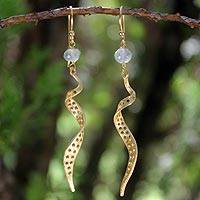 Gold vermeil prasiolite dangle earrings,
