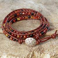 Leather wrap bracelet, 'Earth Protection' - Handcrafted Leather and Agate Wrap Bracelet