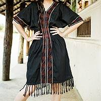 Cotton dress, 'Thai Tribal in Black' - Embroidered Cotton Dress