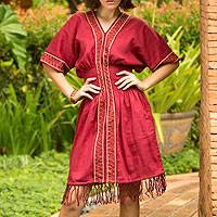 Cotton dress, 'Thai Tribal in Red' - Hill Tribe Embroidered Cotton Dress