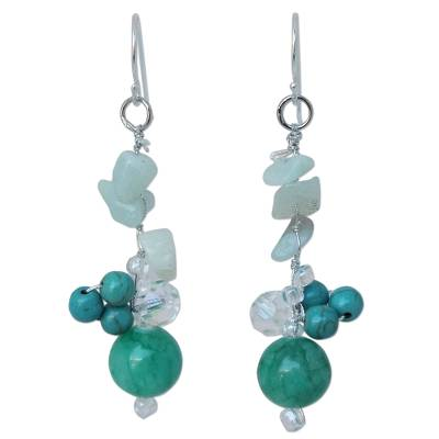 Hand Crafted Amazonite and Quartz Earrings