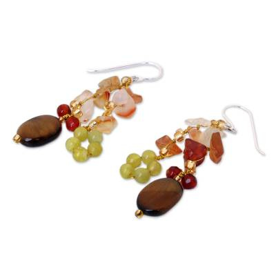 Tiger's eye and carnelian cluster earrings, 'Thai Autumn' - Hand Crafted Tiger's Eye and Quartz Cluster Earrings