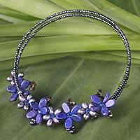 Pearl and lapis lazuli choker, 'Phuket Flowers' - Lapis Lazuli Choker Necklace