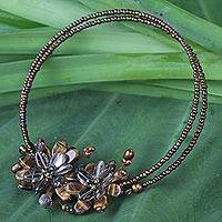 Tiger's eye and smoky quartz choker, 'Honey Bouquet' - Beaded Tiger's Eye and Smoky Quartz Necklace