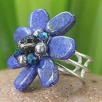 Lapis lazuli and pearl cocktail ring, 'Phuket Flowers' - Beaded Lapis Lazuli Cocktail Ring