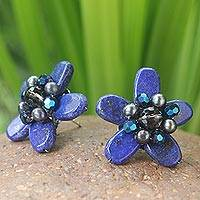 Lapis lazuli and pearl button earrings,