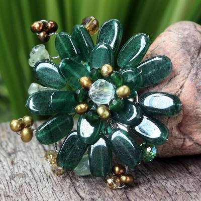 Pearl and prehnite brooch pin, 'Jungle Flowers' - Hand Crafted Floral Quartz Brooch Pin