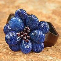 Garnet and leather cuff bracelet,