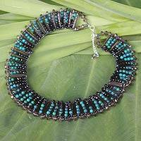 Serpentine beaded choker, 'Green Night' - Serpentine Beaded Necklace