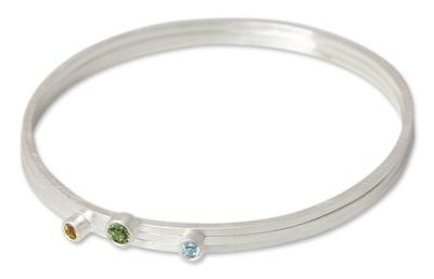 Silver Blue Topaz and Peridot Bangle Bracelets (Set of 3)