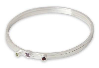 Amethyst and garnet bangle bracelets (Set of 3)
