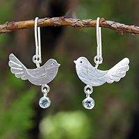 Blue topaz  dangle earrings, Doves of Peace
