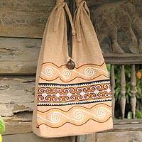 Cotton sling bag, 'Lanna Greatness' - Unique Cotton Shoulder Bag from Thailand