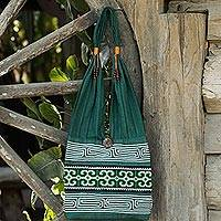 Cotton sling bag, 'Lanna Forest' - Green Embroidered Shoulder Bag from Thailand