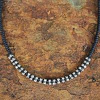 Silver flower necklace, 'Hill Tribe Grace' - Silver Beaded Necklace