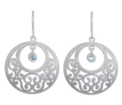 Blue topaz floral earrings