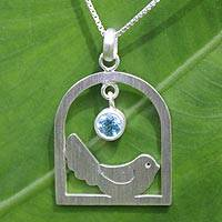 Blue topaz pendant necklace, 'Happy Bird'