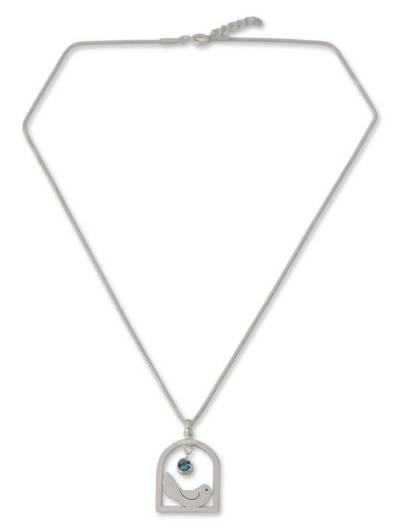 Hand Crafted Sterling Silver and Blue Topaz Necklace