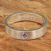 Amethyst band ring, 'Inspire' - Amethyst and Silver Inspirational Band Ring
