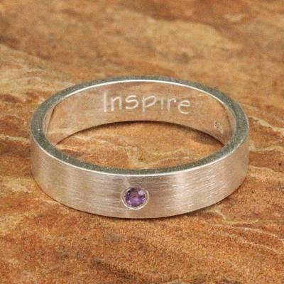 Amethyst and Silver Inspirational Band Ring
