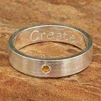 Citrine band ring, 'Create'
