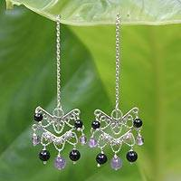 Amethyst and onyx chandelier earrings, 'Mystical Siam' - Amethyst and onyx chandelier earrings