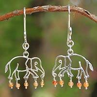 Carnelian dangle earrings, 'Elephant Glitz' - Carnelian dangle earrings