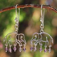 Amethyst dangle earrings, 'Elephant Glitz' - Sterling Silver and Amethyst Dangle Earrings