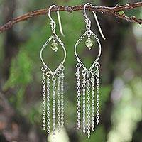 Peridot waterfall earrings, 'Scintillating Leaves' - Fair Trade Sterling Silver and Peridot Waterfall Earrings
