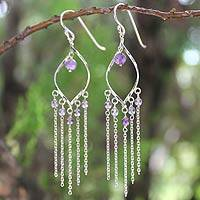 Amethyst waterfall earrings, 'Scintillating Leaves' - Amethyst Sterling Silver Earrings