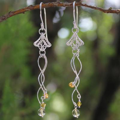 Pearl and citrine flower earrings, Filigree Tulips