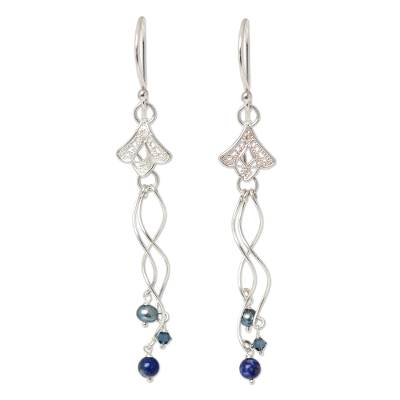Handcrafted Lapis Lazuli and Filigree Silver Dangle Earrings