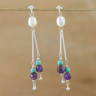 Pearl and amethyst dangle earrings, 'Sweet Calm' - Unique Sterling Silver and Multigem Earrings