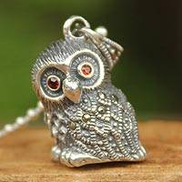Marcasite and garnet pendant necklace, 'Perfect Owl' - Marcasite and Garnet Pendant Necklace