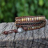 Agate wrap bracelet, 'Bold Honeysuckle'