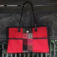 Cotton shoulder bag, 'Tribal Crimson' - Cotton shoulder bag