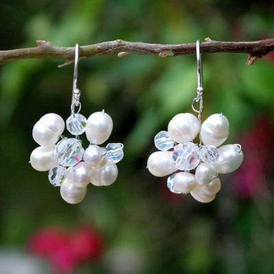 Pearl cluster earrings, 'Bridal Bouquet' - Unique Pearl Dangle Earrings from Thailand