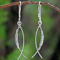 Sterling silver dangle earrings, 'Sea Life Abstraction' - Sterling Silver Dangle Earrings