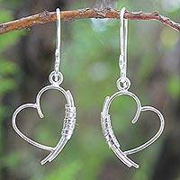 Sterling silver heart earrings, 'Love Promise' - Silver Dangle Earrings