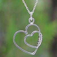 Sterling silver heart necklace, Love Promise