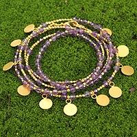 Gold plated amethyst wrap bracelet, 'Deva Dancer' - Unique Gold Plated Amethyst Bracelet