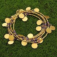 Gold plated amethyst wrap bracelet, 'Golden Suns' - Hand Crafted Gold Plated Amethyst Wrap Bracelet