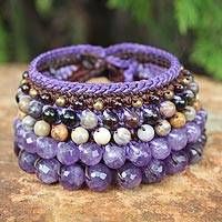 Amethyst and jasper wristband bracelet,