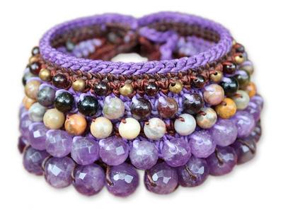 Amethyst and Jasper Beaded Bracelet from Thailand